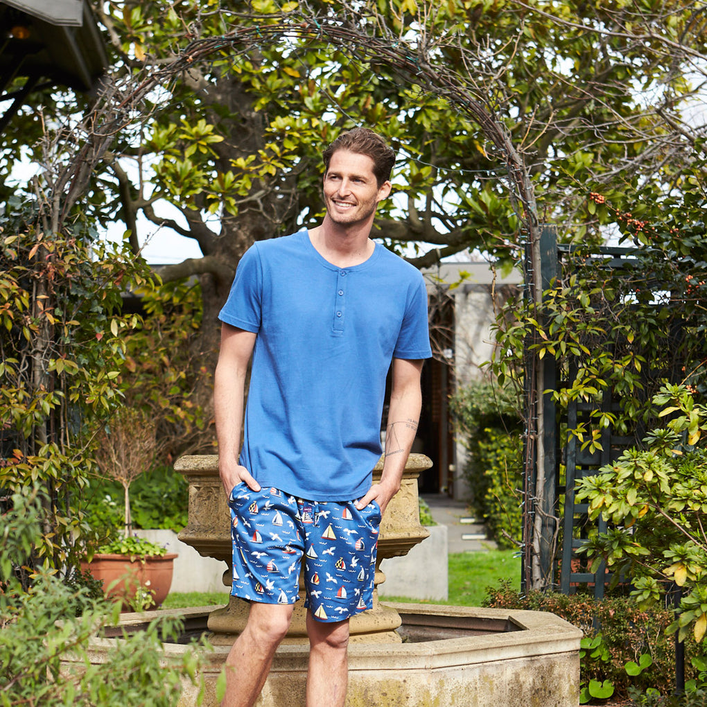 Men's Seagulls & Sails Printed Pyjama Shorts