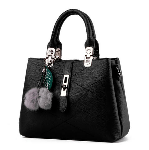 Designer Leather Hand Bags with Fur Ball