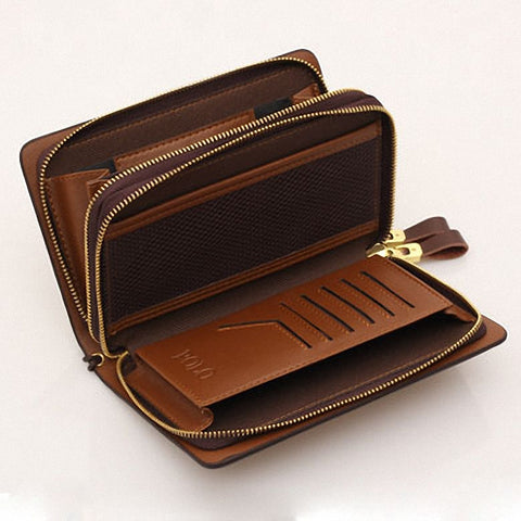 Men's Cow Split Leather Business Long Double Zipper Purses