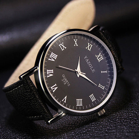 Simple Black Luxury Quartz Wrist Watch For Men