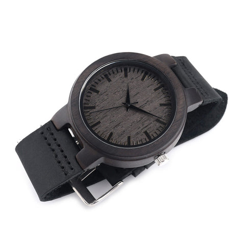 Eco Friendly Luxury Genuine Leather Band Quartz Wood Watch for Men
