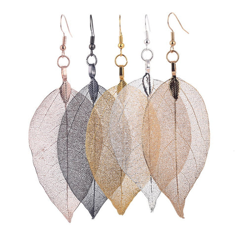 Unique Natural Real Leaf Long Earrings For Women