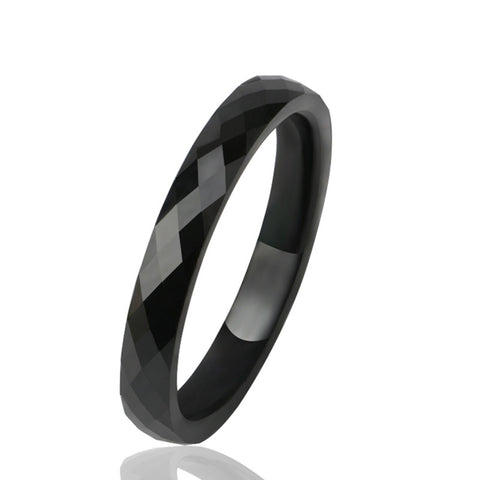Simple Elegant 3MM Crystal Ceramic Rings Black White