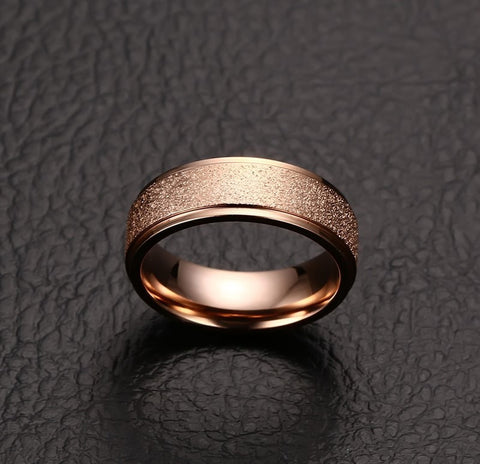 Rose Gold Color Sand Blasted Stainless Steel Ring for Women