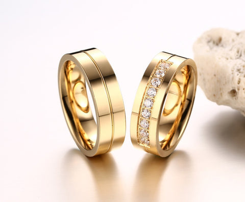 Gold Trendy Wedding  Love Gold Plated CZ Zirconia Stainless Steel Ring