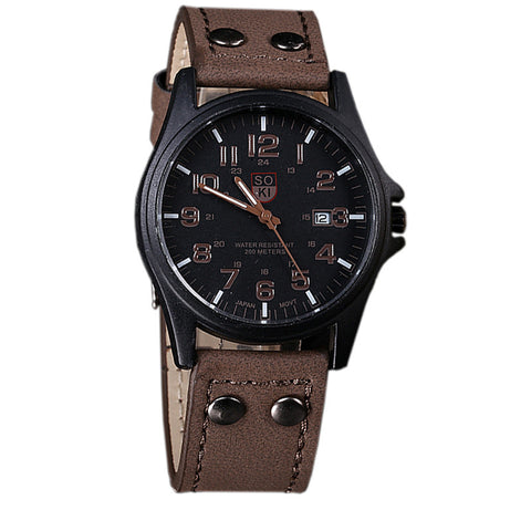 Classic Men's Date Leather Strap Sport Quartz Watch