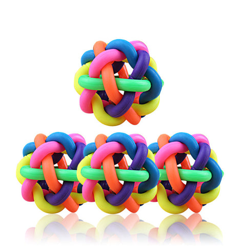 1pcs Pet Dog Cat Colorful Rubber Round Ball With Small Bell