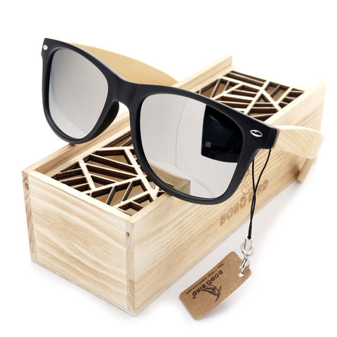 Summer Style Vintage Black Square Sunglasses With Bamboo Mirrored Polarized