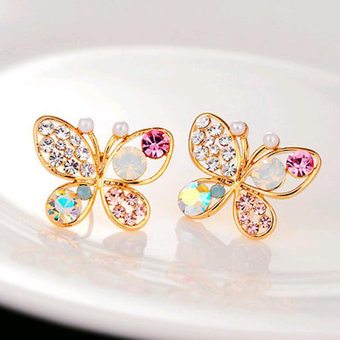 Luxury Hollow Brilliant Colorful Crystal Imitation Pearl Butterfly Stud Earrings