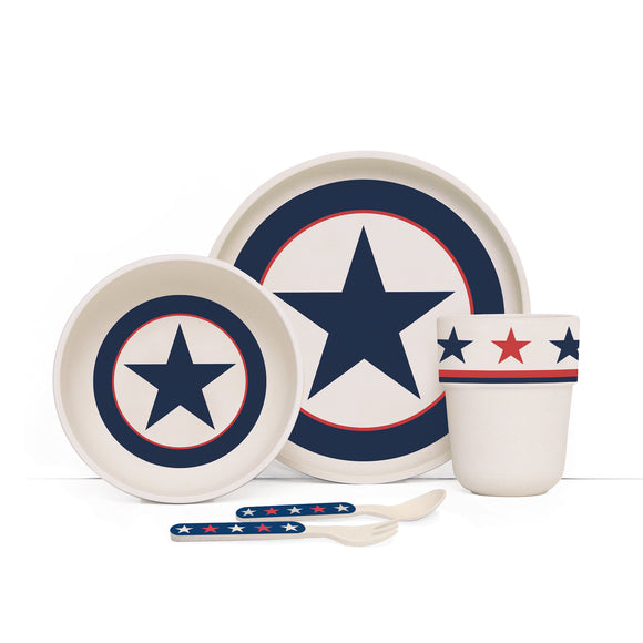 Penny Scallan Design - Bamboo Mealtime Set with Cutlery - Navy Star