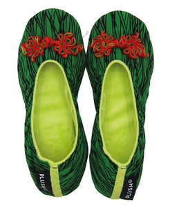 The Plush Shop Handmade Indoor Slippers - Script Green