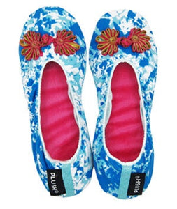 The Plush Shop Handmade Indoor Slippers - Marble Blue