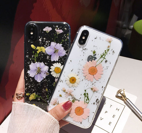 best service 6227c 0e1a6 Luxe Pressed Flower Protective Phone Cases For iPhone XS