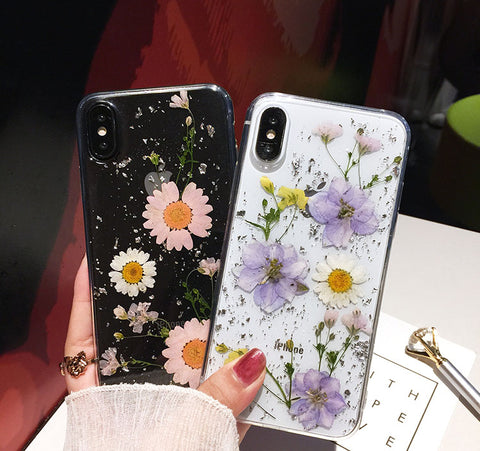 best service 8be9e 5f13a Luxe Pressed Flower Protective Phone Cases For iPhone XS