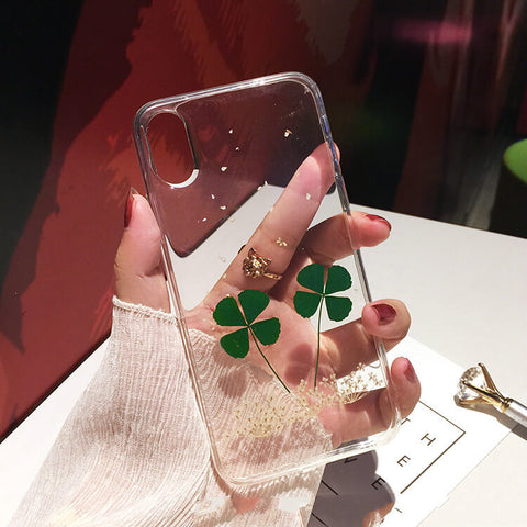 Four Leaf Clover Pressed Dried Flower iPhone X Cases -colorulife.com
