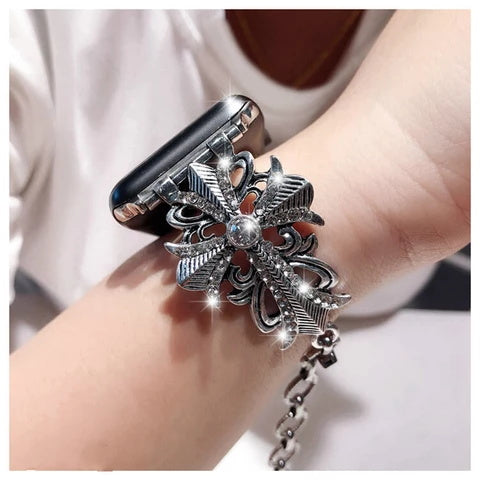 Rhinestone Apple Watch Band Women Alloy Metal