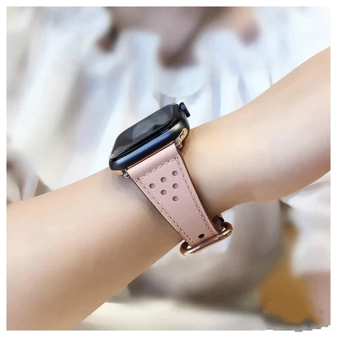 Fashion Black Pink White Brown 38  42  40  44MM Genuine Leather Apple Watch Band Women