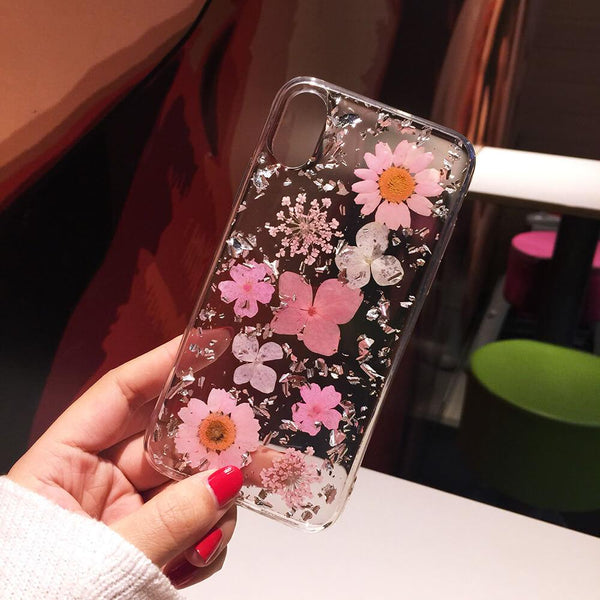 Luxe Pressed Flower Protective iPhone 11 12 Case Cute