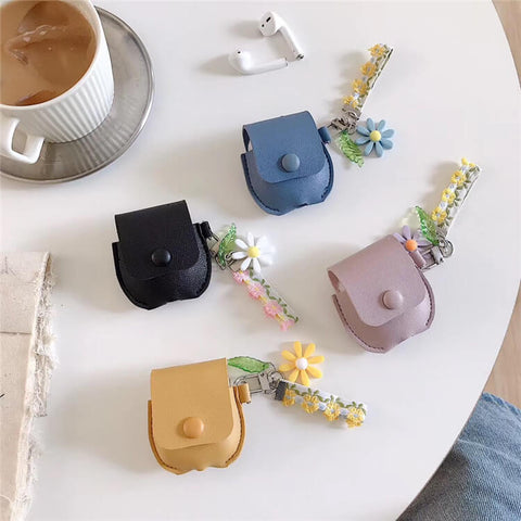 Black Brown Blue Pink Leather Airpods Case Cover