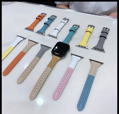 Colorful 38 42 40 44MM Genuine Leather Apple Watch Band Women