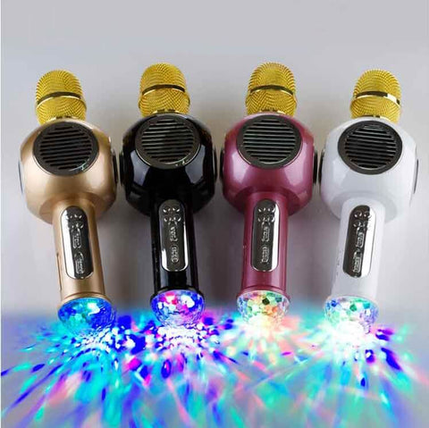 Portable Wireless Bluetooth Karaoke Microphone M8 bluetooth KTV speaker With Party Light- colorulife.com