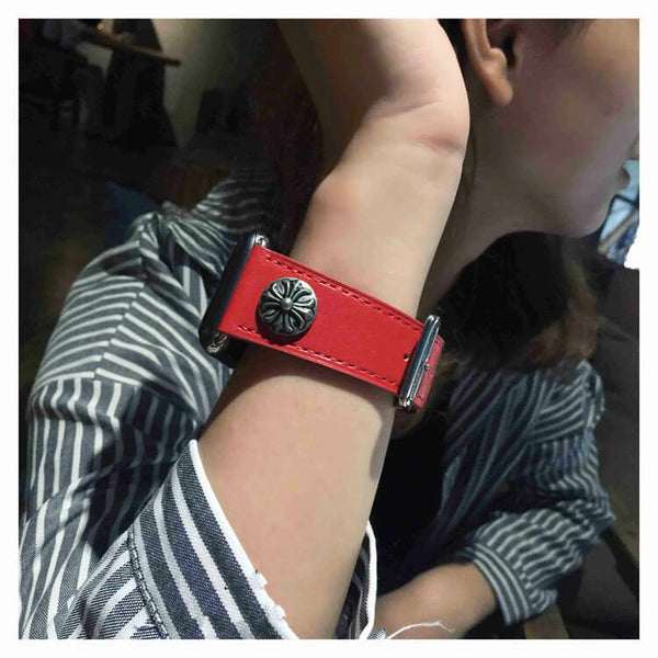 Punk Style Leather Apple Watch Band Women Cool
