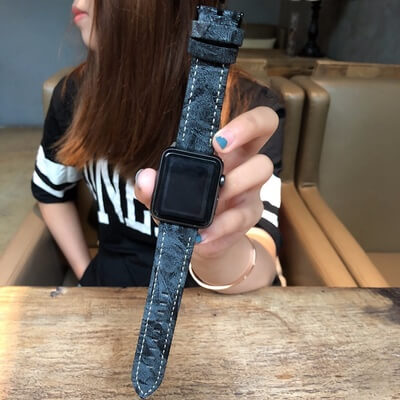 Snow Pattern Leather Apple Watch Band