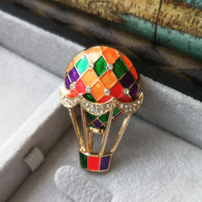 Hot Air Balloon Crystal Decorate Brooch Pin