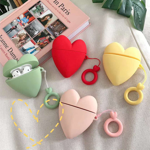Silicone Cute Heart Airpod Cases