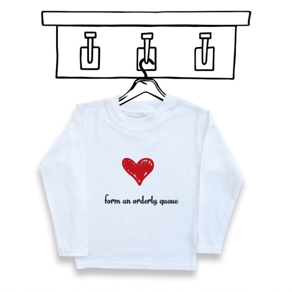 'FORM AN ORDERLY QUEUE' KIDS UNISEX VALENTINES TEE/SWEATER