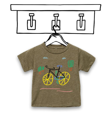 'BICYCLE' UNISEX OLIVE CHILDREN'S TEE