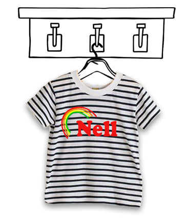 'PERSONALISED' RAINBOW SHORT SLEEVED UNISEX STRIPED TEE