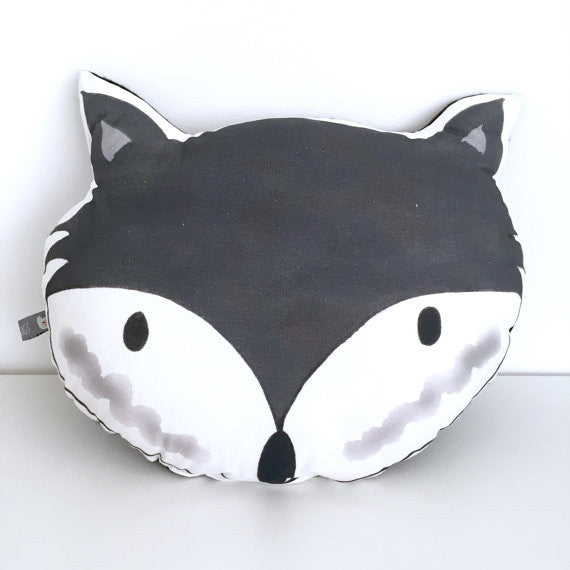 'FOX HEAD' - PILLOW  (BLACK & WHITE)