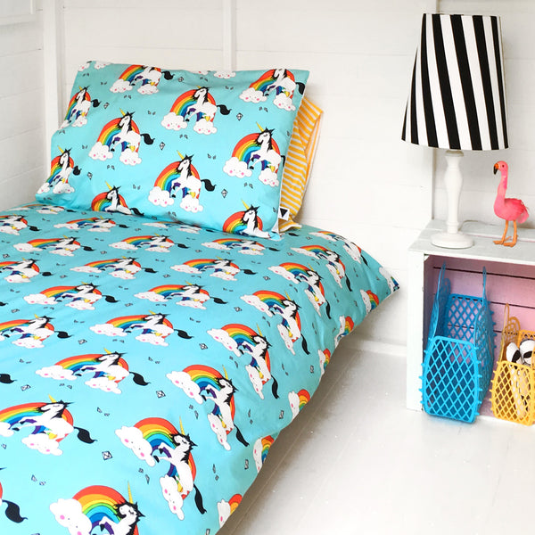 Love Frankie RAINBOW GUY 'SINGLE' DUVET SET IN AQUA