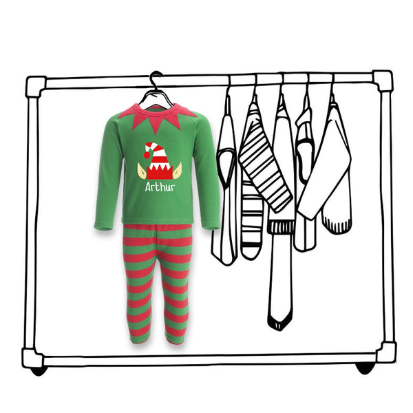 'CHRISTMAS ELF PERSONALISED PJ'S'...