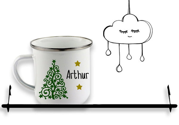 'PERSONALISED' CHRISTMAS TREE ENAMEL MUG...