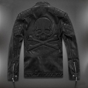 Awesome Skull Leather Motorcycle Jacket