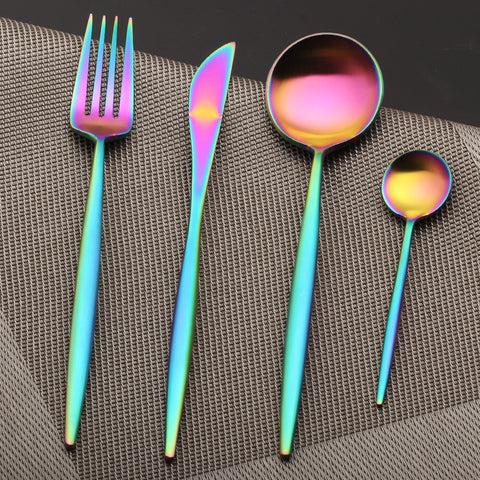4 pcs/set Silverware Rainbow Dinnerware Set