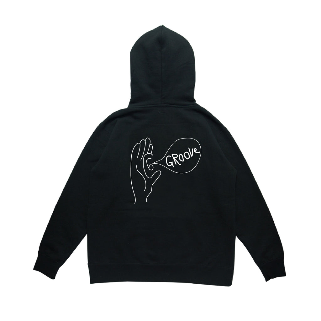 GB WHT LOGO BLK HOODIE w/Groove