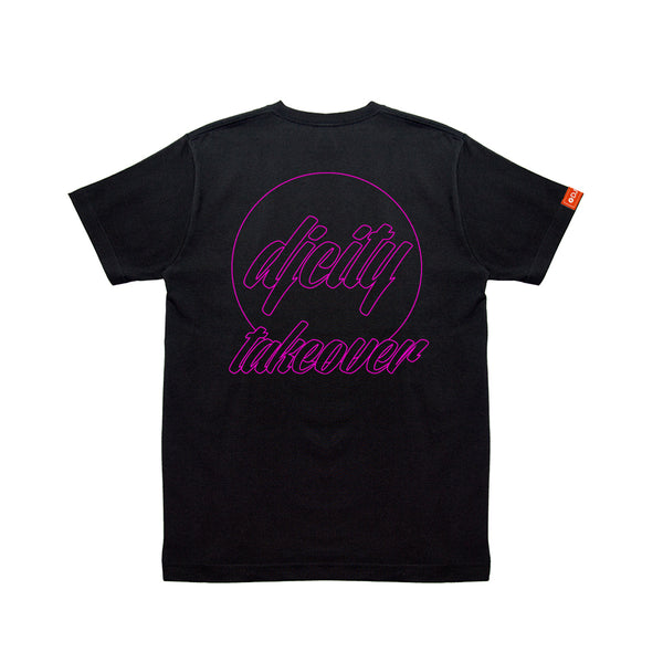 Limited DJcity TAKEOVER COLLAB  BLK T-SHIRT w/PINK
