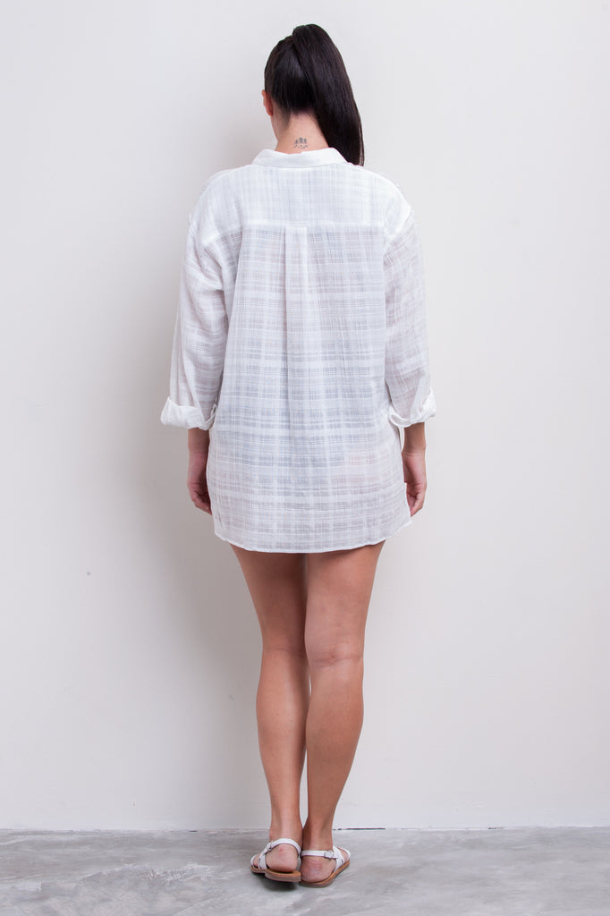 Textured Check Oversized Shirt - Nautical Reds Collection