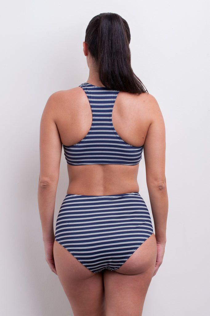 Lace Up High Waist Bikini Bottom - Nautical Blues Collection