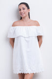 Off the Shoulder Frill Dress - Cool Tropics Collection