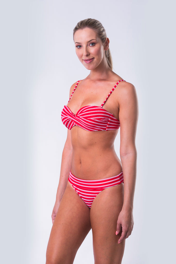 Twist Front Bandeau Bikini Top with Underwire - Nautical Reds Collection