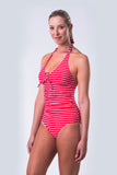 Halter One Piece Swimsuit - Nautical Reds Collection