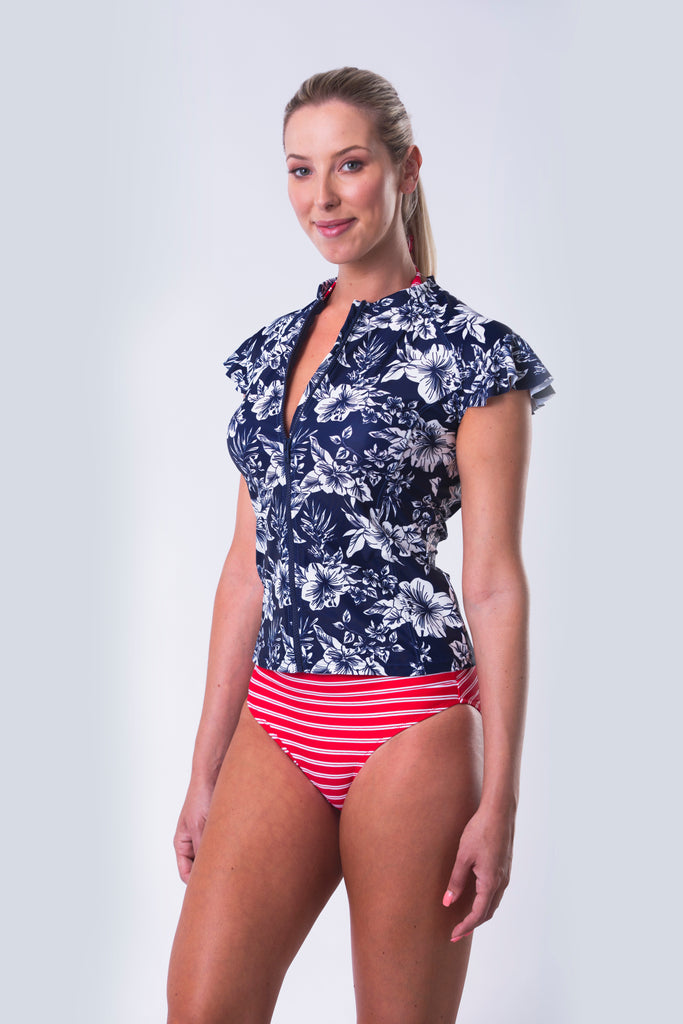 Ruffle Sleeve Rash Guard - Hawaii Blues Collection