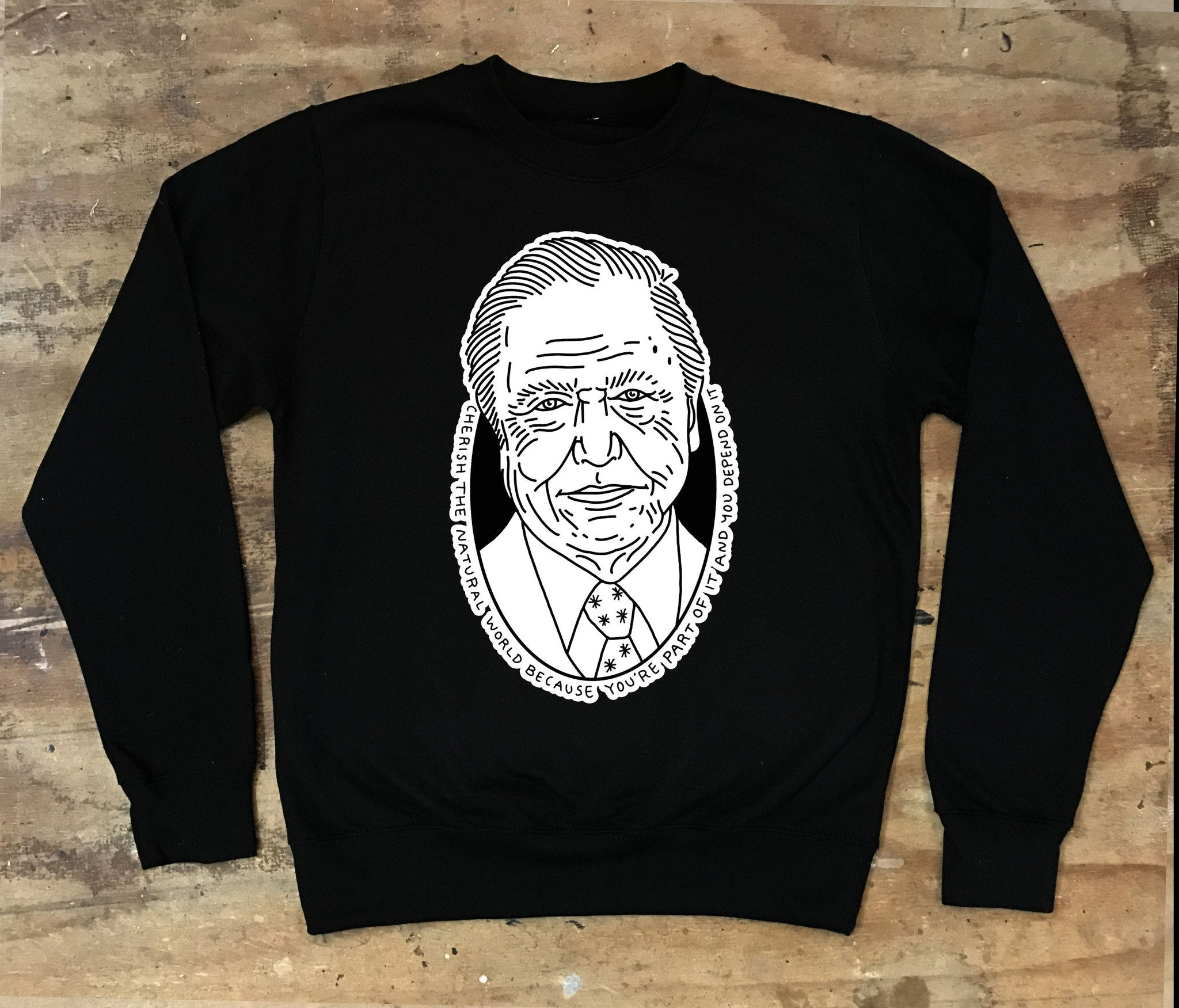 Sir David Attenborough - Cherish The Natural World Crew Neck Sweater - Jiggle Apparel