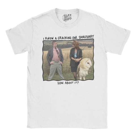 Alan Partridge - I know of a Cracking Owl Sanctuary Photo T-shirt - Jiggle Apparel