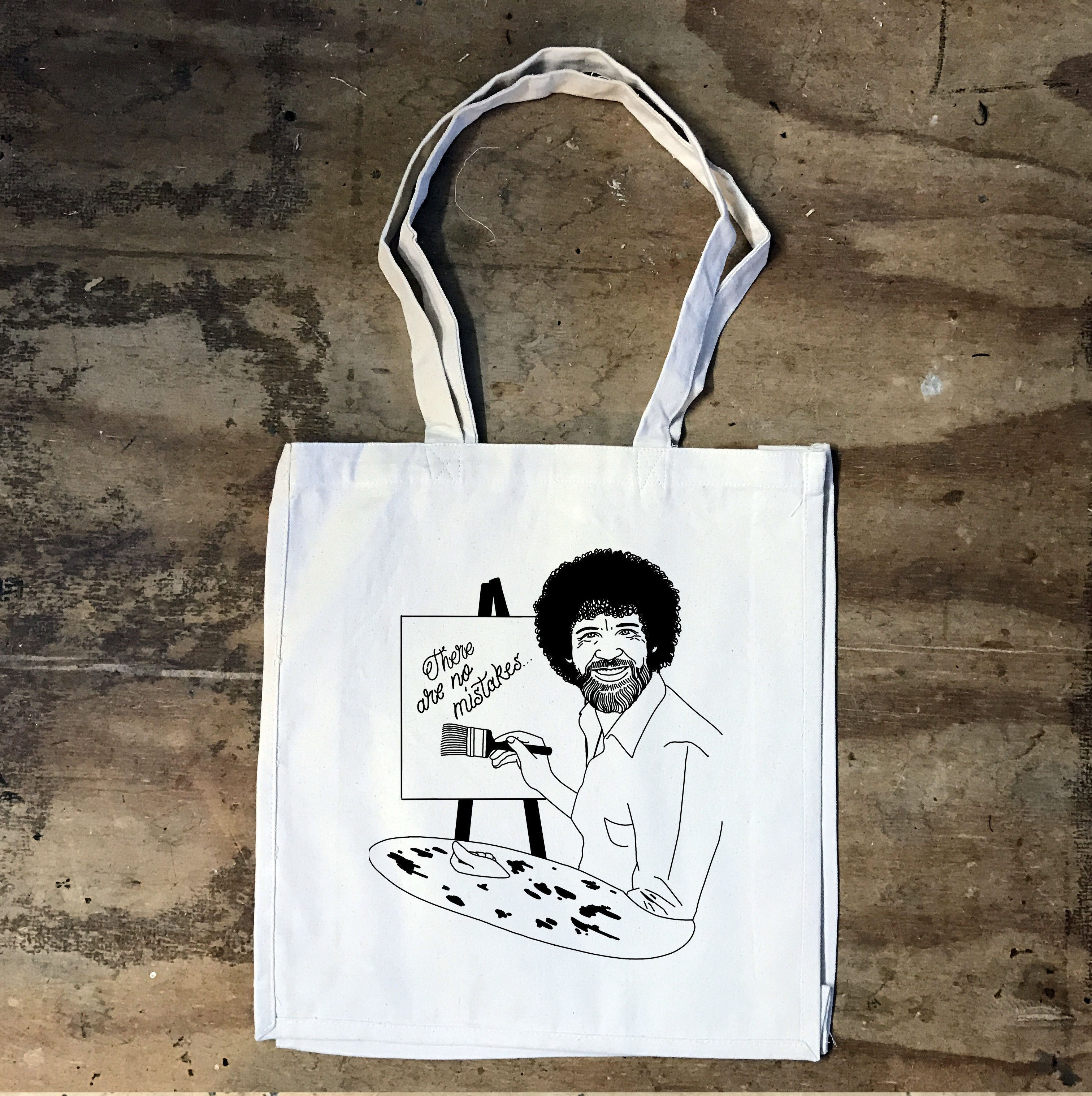 Bob Ross - There are no Mistakes Tote - Jiggle Apparel
