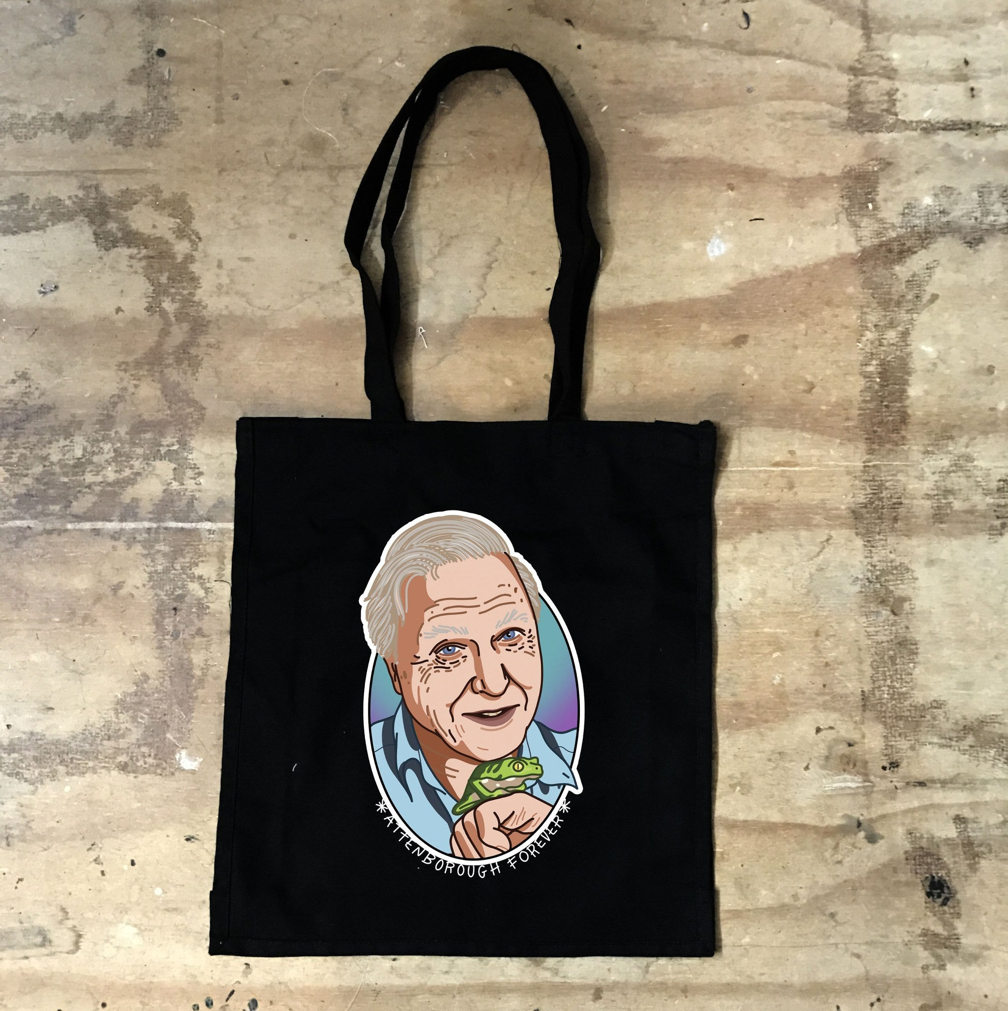 Sir David Attenborough - Attenborough Forever - Black Tote - Jiggle Apparel